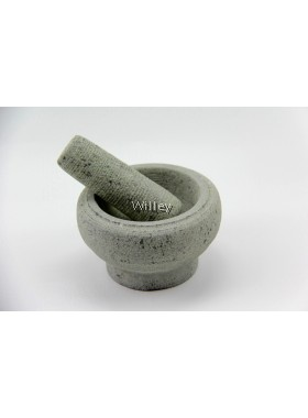 STONE MORTAR WITH PESTLE 16CM